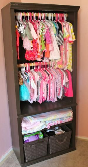 This idea takes your nursery storage and turns an old book shelf into an outside closet