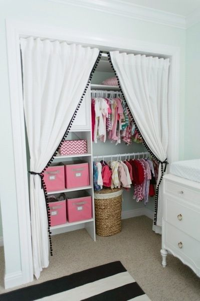 This is a beautiful elegant way to turn a closet in to a nursery storage area without using doors