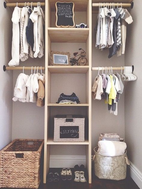 This Neat Nursery Storage Idea Shows A Closet Separated In To 4 Halves With Shelf