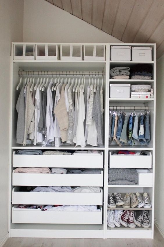 This is a good idea for those that have a small walk in closet with an odd shaped ceiling