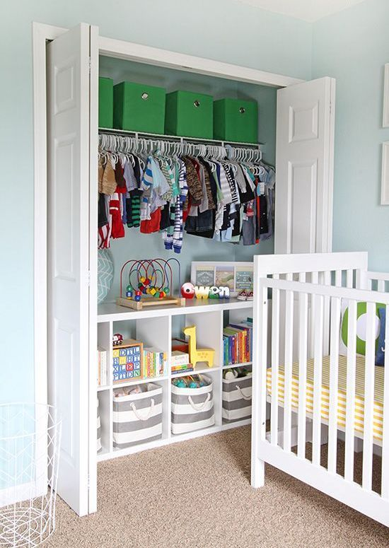 This is a great way to have a traditional closet with a little added organization. The shelves on the bottom allow you to use the different decorative bins to organize your child's toys, blankets, etc