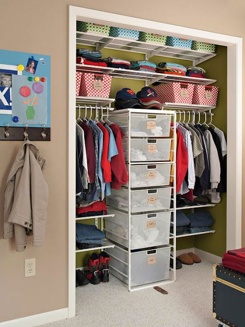 This closet idea is great allowing you a place to store your folded clothes as well as bins to use so you have organize the different items in to sections. There is still plenty of room for you to hang your clothes in different levels