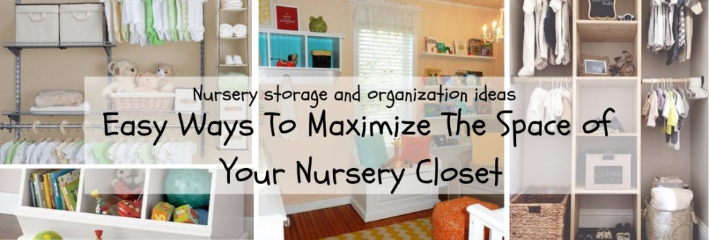 Creative and practical nursery storage ideas and tips. Everything you need to organize your closet using shelves, baskets, a rod for hanging your clothes, a place to put the dirty laundry and a little floor space