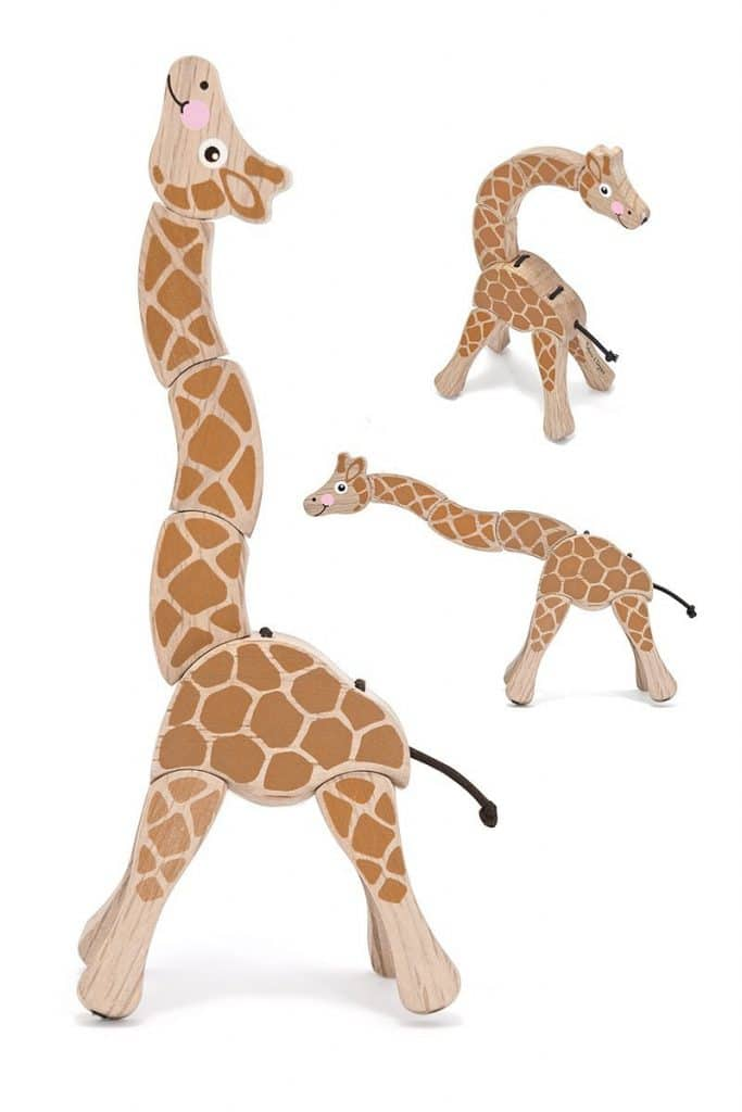 Giraffe wooden grasping toy: can be spun or rotated by small hands into any pose that they like